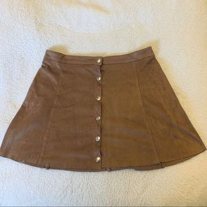 (S) suede button up skirt
